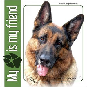 GERMAN SHEPHERD DOG 10 - Nalepka 14x14cm