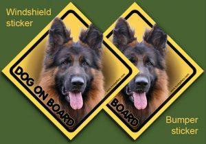 GERMAN SHEPHERD DOG LONG-HAIRED 03 - Nalepka 11,5x11,5cm