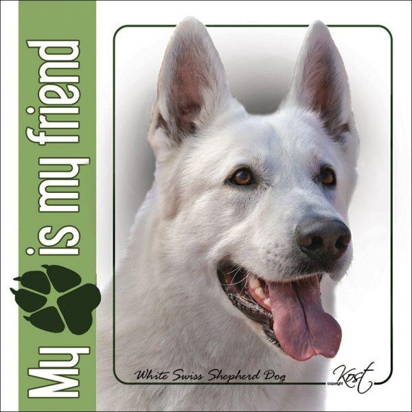 WHITE SWISS SHEPHERD DOG 01 - Nalepka 14x14cm