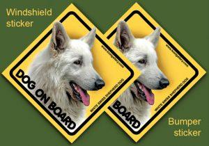 WHITE SWISS SHEPHERD DOG 02 - Nalepka 11,5x11,5cm