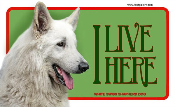 WHITE SWISS SHEPHERD DOG – Tabliczka 18x11cm